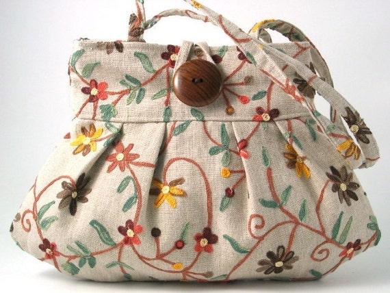 small tote bag, handmade handbag w/ embroidery, purse, beige pleated bag,