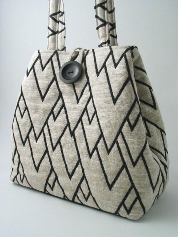Chevron black white  tote shoulder bag, handbag, diaper bag , laptop bag, purse, EMBROIDERY linen
