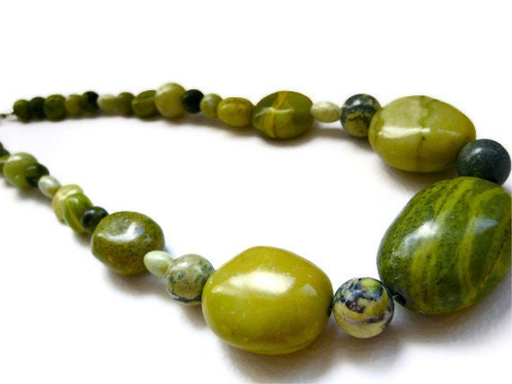 """Chunky Necklace, Statement Necklace, Chartreuse - Yellow Tibetan """"Turquoise"""" -  Bohemian Jewelry, Stone Necklace, Bold Jewelry, Fashion"""