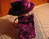 Purple Crushed Velvet Hat and Purse NEW