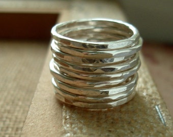 Stackers Recycled Silver Hammered Stacking Ring - one ring