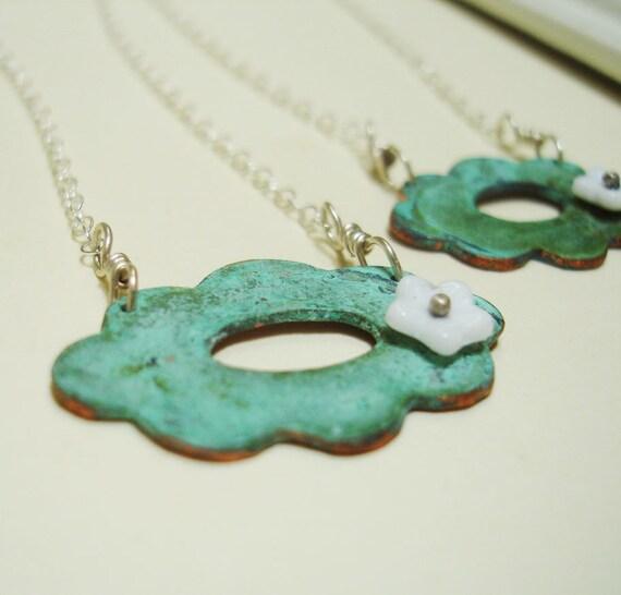 Nature's Essence Necklace - Verdigris Aqua Green Copper Flower Scalloped