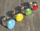 Oversized Glass Spring Color Ring on Adjustable Wide Band by Heidi Urbanski on etsy