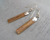 Small Rectangle Stamped Etched Brass Earrings as seen on The Vampire Diaries by Heidi Urbanski on Etsy