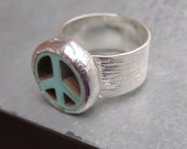 Stone Peace Ring on Adjustable Band by Heidi Urbanski on etsy