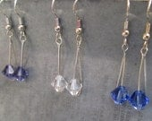 Simple Elegant Swarovski Crystal Dangle Earrings Blue Violet Light Purple Clear
