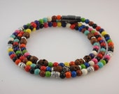 Beaded  Bracelet (Men's): Buffalo Turquoise Beads, Wood Skulls, Sterling Silver and Marcasite