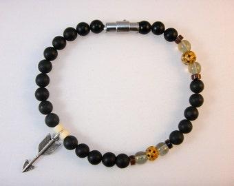 Beaded Gemstone Bracelet (Men's): Black Stone, Smokey Quartz, Bone,Tigers Eye, and Sterling Silver- Bruno Collection