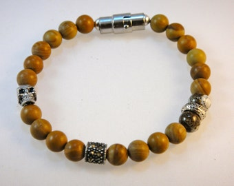 Beaded SP Gemstone Bracelet - The Q Collection : Jasper, Marcasite and Sterling Silver, with Skull