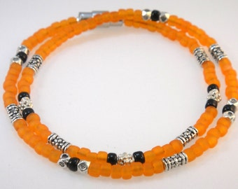 The Seed Bead Collection: Orange Seed Beads, Stamped Metal, and Sterling Silver Beads