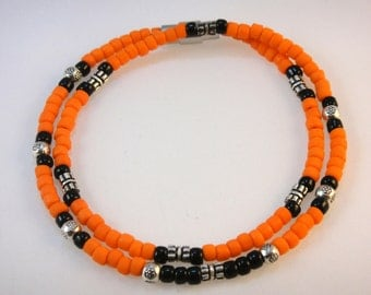 The Seed Bead Collection: Orange &  Black Seed Beads, Stamped Metal Beads, and Sterling Silver Beads