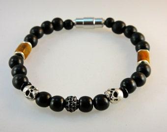 Beaded Bracelet (M) : Mahogany Beads, Horn, Hematite, with Skull and Jet Swarovski Beads