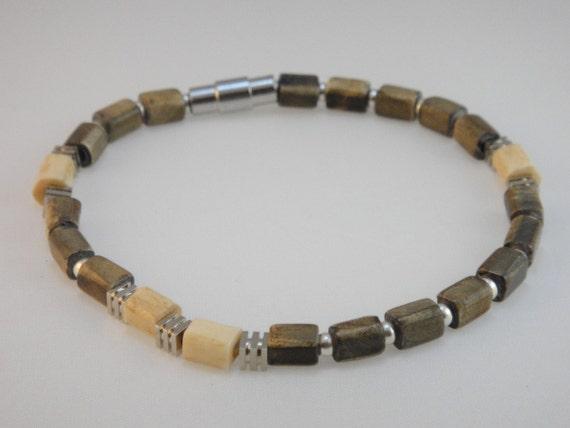 Beaded Bracelet (Men's): Bone Beads and Sterling Silver