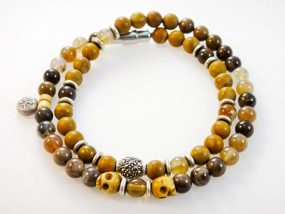 Beaded SP Gemstone Bracelet (Men's): Jasper, Wood Agate, Bone with Marcasite and Sterling Silver
