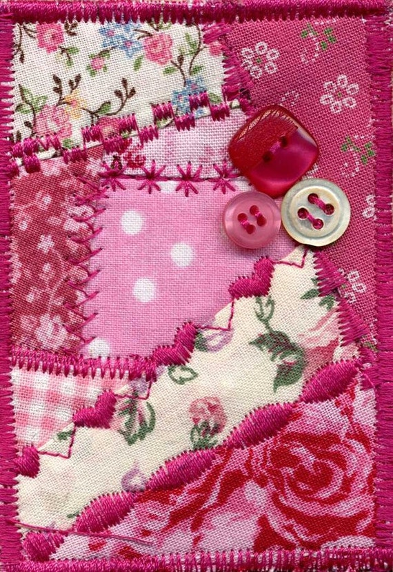 Pink fabric mini crazy quilt ACEO