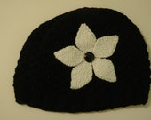 CUSTOM ORDER FOR MARY - BLACK AND WHITE FLOWER HAT