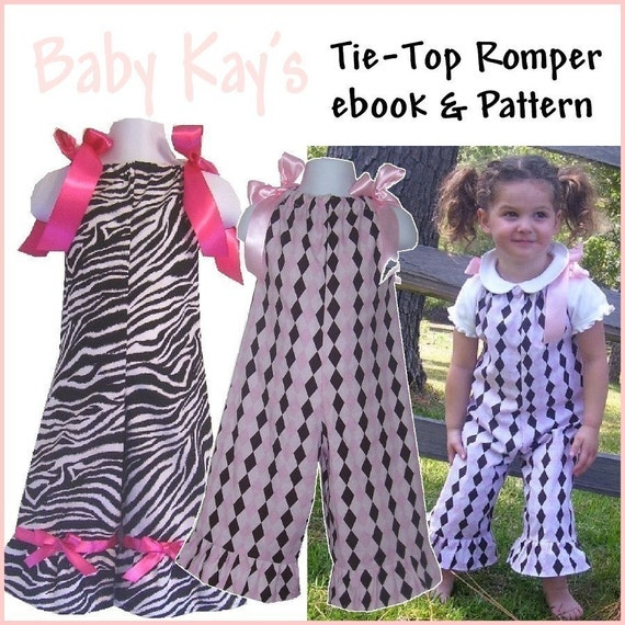 Girls Tie-Top Romper pattern pdf.. 5.00 sale on ALL my patterns
