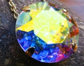 Unicorn Horn - Large Aurora Borealis Swarovski Crystal Pendant - Round Pastel Rainbow Prism Circle Jewelry - Available In Silver Or Gold