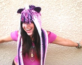 Pink and Purple Power Sparkly Unicorn Scoofie - Crocheted Hooded Scarf
