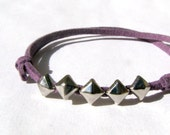 Small Mini Silver Pyramid Stud Leather Bracelet - Lavender /  Black / Grey / Pink