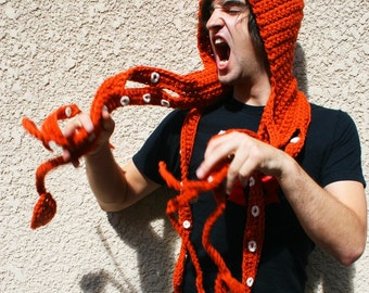 Kraken Of The Sea Scoofie - Mythological Creature Hooded Scarf Couture