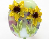 Made to order Margo lampwork beads sunflower