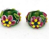 Made to order Margo lampwork beads flower earring pair