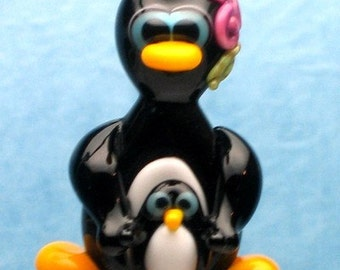 Made to order Margo lampwork beads penguin MOM with baby