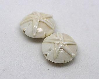 Made to order Margo lampwork beads sand dollar ivory
