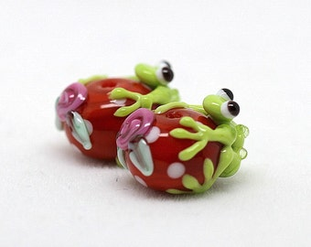 made to order Margo lampwork beads frog earrings pair