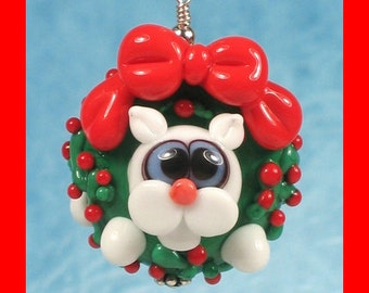 Made to order Margo lampwork beads Christmas wreath white cat