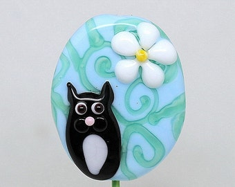 Made to order Margo lampwork beads cat floral