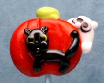 Made to order Margo lampwork beads halloween three ghost cat