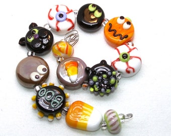 Made to order Margo lampwork beads halloween ghost cat set (12)