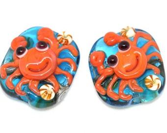 Made to order Margo lampwork beads crab earrings pair (2)