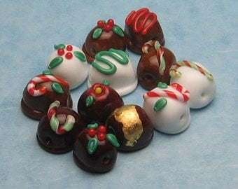Made to order Margo lampwork beads Christmas Chocolate(12)