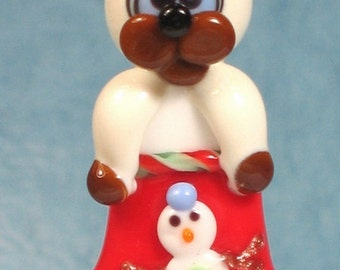 Made to order Margo lampwork beads Christmas stocking cat