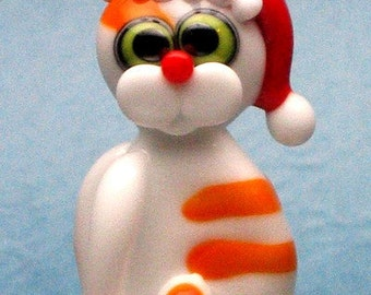 Made to order Margo lampwork beads Christmas cat