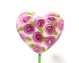 Made to order Margo lampwork beads rose heart