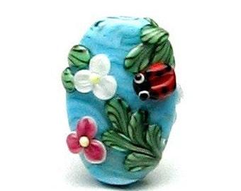 Made to order Margo lampwork beads ladybug
