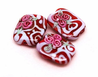 Margo lampwork beads floral rose(3)