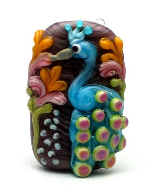 Made to order Margo lampwork beads peacock