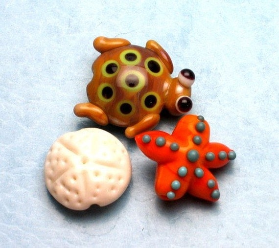 Made to order Margo lampwork beads seastar turtle(3)
