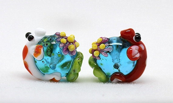 Made to order Margo lampwork beads koi pond earrings pair (2)