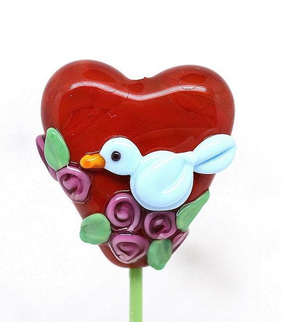 Margo lampwork beads HEART BIRD