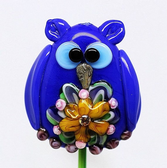 Margo lampwork beads owl