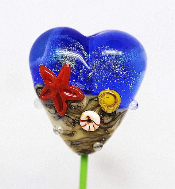 Made to order Margo lampwork beads seastar heart