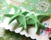 Mint Green Two Bird Hair Clip