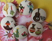 FOUR Fabric Covered Buttons - Fiesta