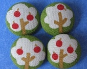 FOUR Fabric Covered Buttons - Apple Trees